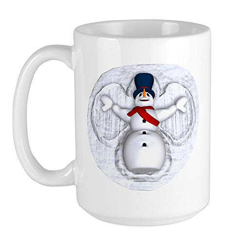 (CafePress Snowman Snow Angel Large Mug Coffee Mug, Large 15 oz. White Coffee Cup)