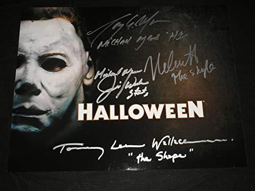 (NICK CASTLE MORAN WINBURN WALLACE 4X Signed Michael Myers 10x13 Photo)