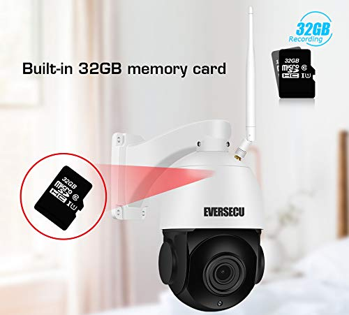 EVERSECU 1080P 30X Zoom PTZ WiFi IP Security Home Outdoor Camera,Wireless CCTV IP Surveillance Pan Tilt Zoom High Speed Dome Camera with 32GB SD Card &Two Way Audio,98ft Night Vision, Remote View App
