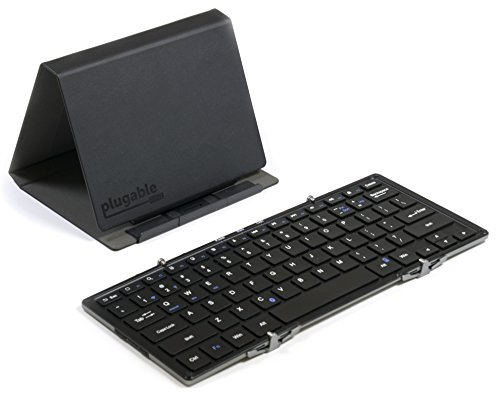 Plugable Foldable Keyboard Compatible for iPhones, iPads, Android Devices, and Windows, Full-Size Bluetooth Portable Keyboard (11.5 Inches) with Case and Stand for Faster Typing and Editing on The go