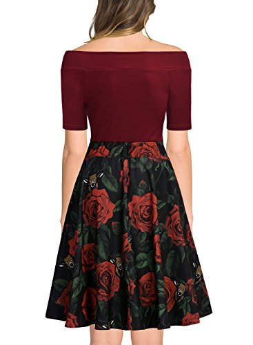 Evening Party Off Dress Miusol Retro Women's Print Flare Red Shoulder YSA0Zq