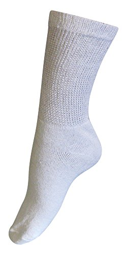 Diabetic Womens Crew Socks White