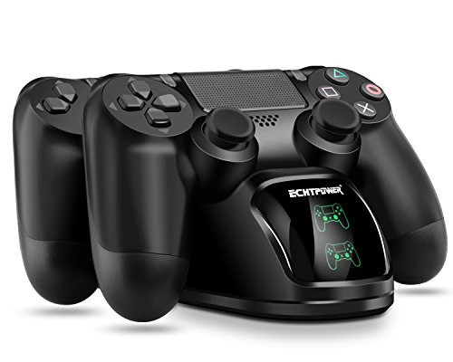 ECHTPower PS4 Controller Charger PS4 Charging Dock, Dual Charger with Charging Status Display Screen for Playstation 4 Dualshock 4 / PS4 Slim / PS4 Pro Controller