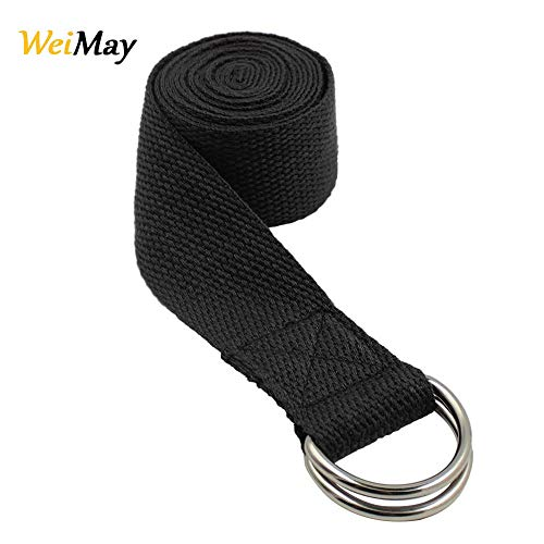 WeiMay Yoga Strap Long Yoga Stretching Belt Waist Leg Fitness Belt with Metal D-Ring Buckle for Beginners, Stretching…