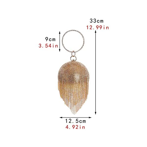 UMREN Women Round Ball Crystal Evening Clutch Purse Tassel Wedding Party Hand Bags