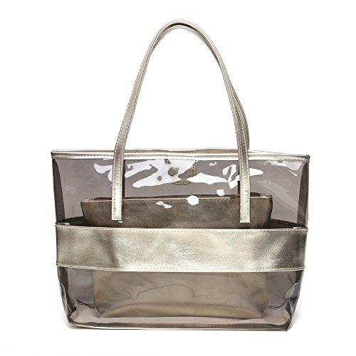 FANCY LOVE Waterprof Semi-clear Tote Stripe Beach Shoulder Bag