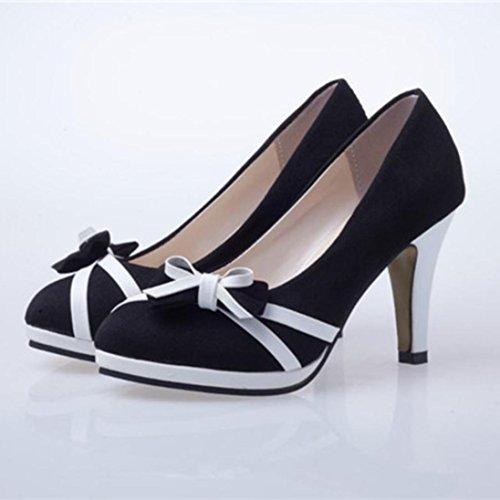 Printemps Shoes Compensé Sandales Bowknot Round Chaussure Pantoufles Été Femme à Talons Fille Hauts Femmes Noir Chaussures Shallow Talons Plage à Sandales Chaussures Toe awZEXnq