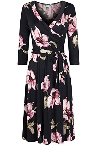 - BodiLove Women's Silky Polyester Stretchy Fabric 3/4 Sleeve V-Neck Printed Knee Length Faux Wrap Dress Black M