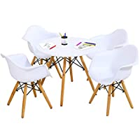 Costzon Kids Mid-Century Modern Style Table Set, Kids Table and Chair Set, Round Table with Armchairs for Toddler Children, Kids Dining Table and Chair Set