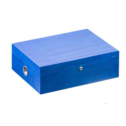 Siglo Vibrant Series Humidor - 200 Cigars - Cobalt Blue - 'Piano Finish', at least 15 layers of lacquer. Color, lacquer & production all processed by hand. Dimensions (mm): 420 x 320 x 145