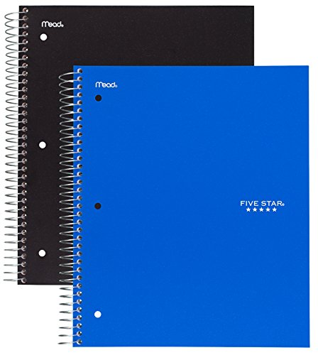 Five Star Spiral Notebook, 3 Subject, 150 Wide Ruled Sheets, Black and Cobalt Blue, 2 PACK (Plastic Notebook)