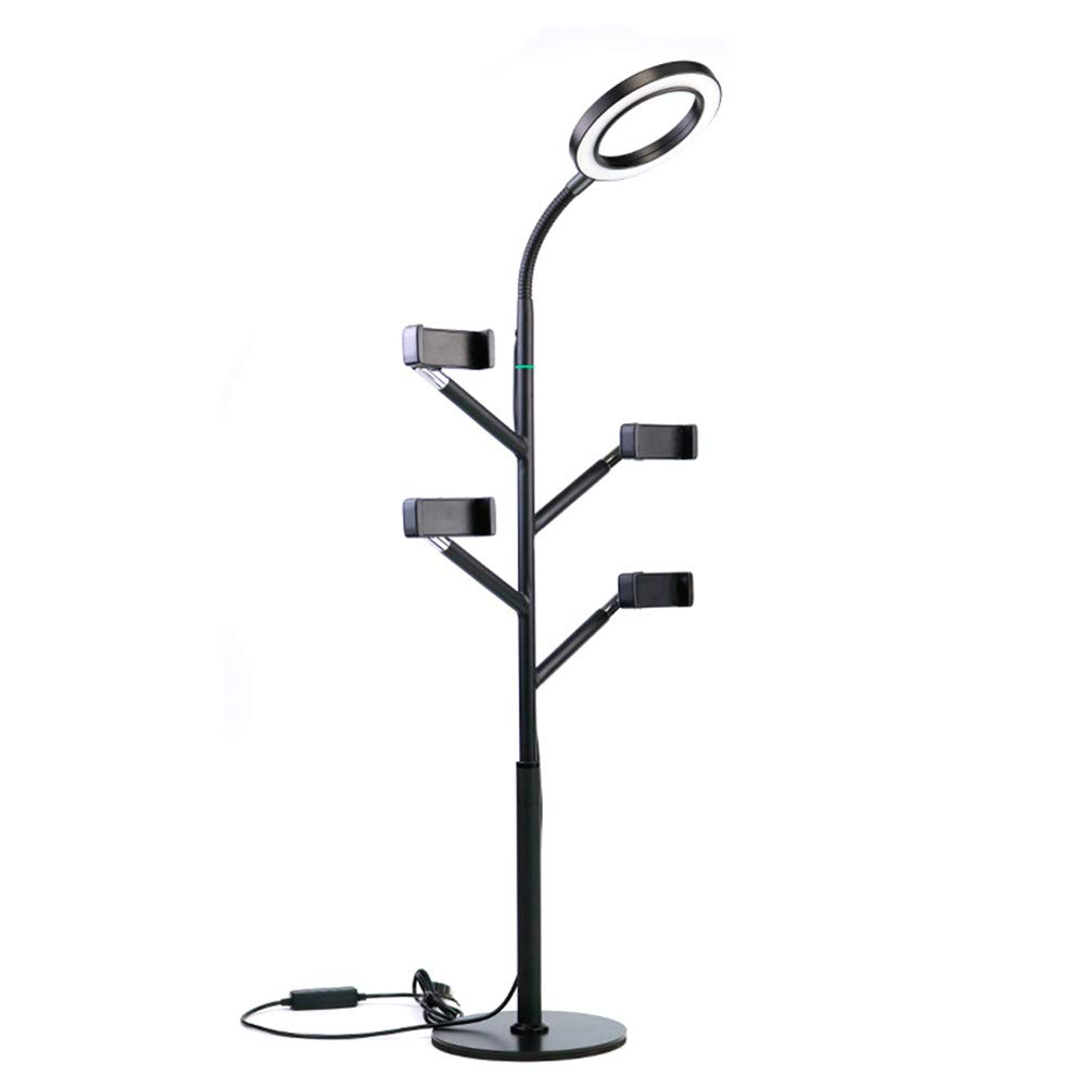 Selfie Ring Light with Mobile Phone Holder, Versatile, Three-Tone Light, Suitable for Live Makeup Lighting, USB Plug-in,Black