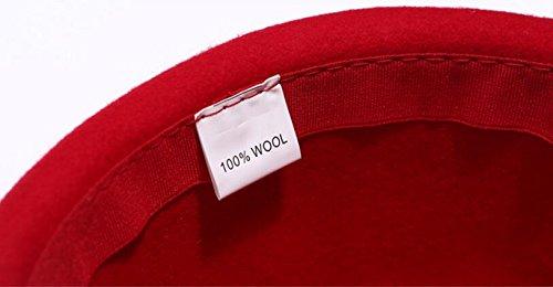 Queenestar Australian Wool Beret Hat Cap For Women Plain Winter Warm Beret Caps (Red) by Queenestar (Image #3)