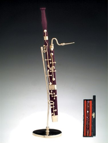 Bassoon w Music Case Stand Miniature Musical Instrument