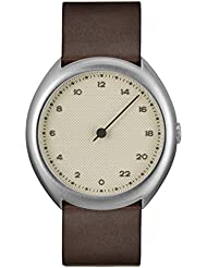 slow O 06 - Swiss Made one-hand 24 hour watch - Silver with dark brown leather band