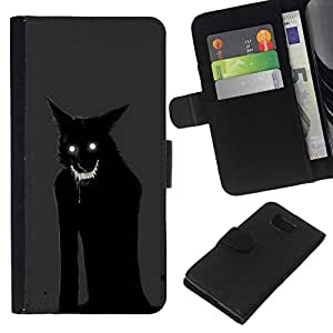 All Phone Most Case / Oferta Especial Cáscara Funda de cuero Monedero Cubierta de proteccion Caso / Wallet Case for Samsung ALPHA G850 // Cat Monster Demon Animal Black