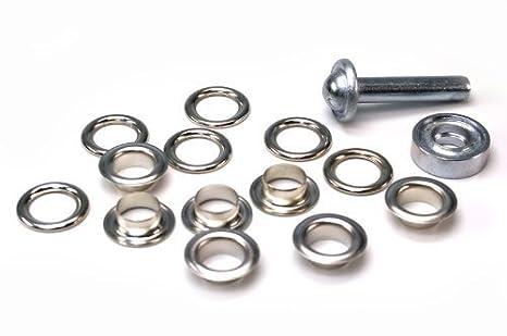 Ösen-Rundösen ohne Werkzeug mit Lasche und Scheibe 10 Stück 20,5mm Öffnung