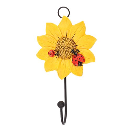 VKTECH Resin Sunflowers Hanging Hooks Wall Mounted Storage Decorative Hook for Coats Handbags Hats Keys (Yellow)
