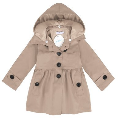 Arshiner Baby Girls Double-Breasted Trench Jacket Coat Dress Windbreaker Outwear (130(Age for 7-8Y), Khaki(FBA))