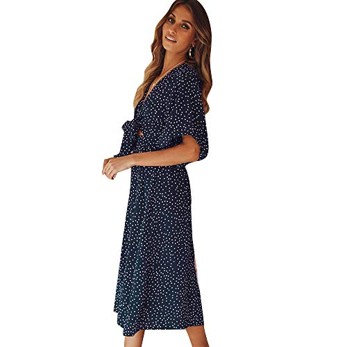 37e0a2f88895 SOLERSUN Women's V Neck Polka Dot Loose Swing Casual Summer Tie Front Midi  Dress Dark Blue