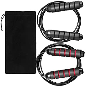 """Well-Being-Matters 41PsfIODvCL._SS300_ Hudii Jump Ropes, Smooth Ball Bearing Skipping Ropes with 6"""" Foam Hand Grip, 2 Pack Length Adjustable Jump Ropes with…"""