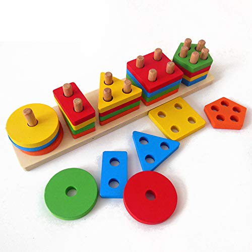 DalosDream Wooden Educational Preschool Toddler Toys for 1 2 3 4-5 Year Old Boys Girls Shape Color Recognition Geometric Board Blocks Stack Sort Chunky Puzzles Kids Baby Non-Toxic ()