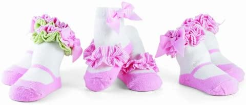Mud Pie Baby Lil' Chick Decorated Cotton Socks, White/Pink, 0-12 Months, Set of 3