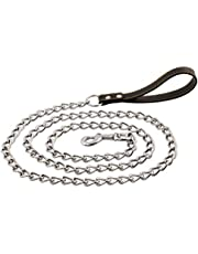 Chain Dog Leash, Ultra Strong and Durable, Premium Faux Leather Comfortable Handle, for Medium and Large Dogs, Attaches to Pet Collar (6 Foot) (500 Grams / 1.1 Pounds)