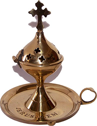 (Holy Land Market Light Greek Brass Pedestal Incense Burner with Tray - (15cm or 6 inches Tall))