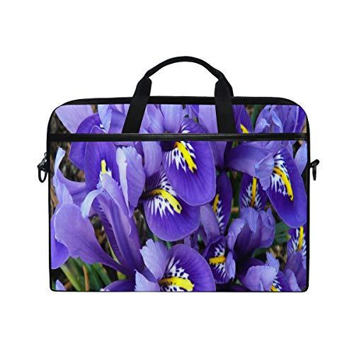 (Blue Irises 14 15inch Laptop Case Laptop Shoulder Bag Notebook Sleeve Handbag Computer Tablet Briefcase Carrying Case Cover with Shoulder Strap Handle for Men Women Travel/Business/School)