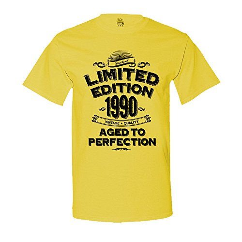 The Shirt Den 1990 Limited Edition 27th Birthday T-Shirt Vintage Aged To Perfection T-Shirt 4XL Yellow