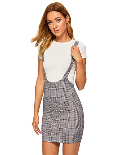 SheIn Women's Plaid High Waist Suspender Pinafore Bodycon Skirt Overall Dress Medium Grey