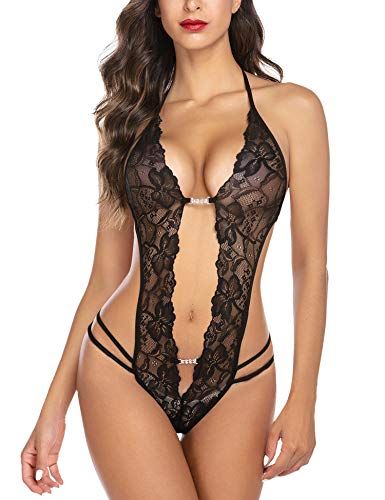 Avidlove Womens One Piece Lingerie Halter Teddy Sleepwear Mini Babydoll Black Small