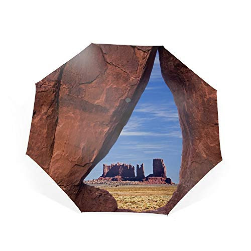 Automatic Compact Travel Umbrella with Reverse and Safe Lock Design, Teflon Auto Open Close Folding Strong Windproof Teardrop Arch Monument Valley Umbrella