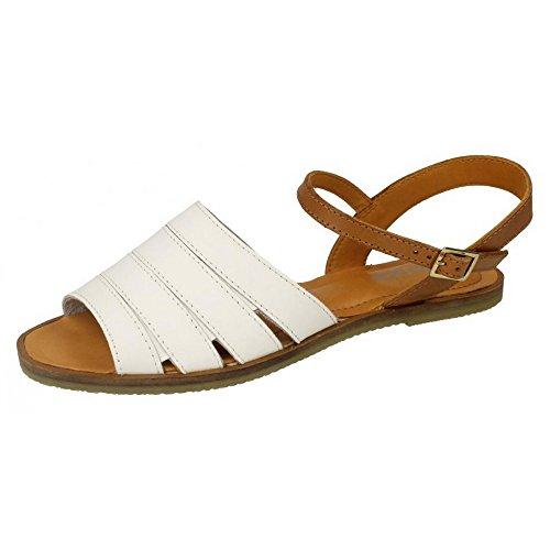 Damen Strap Sandalen Weiß Damen mit Ankle Leder Mule Kollektion Schnalle RxOZqqEA