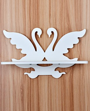 Small White Swan Carved Wall Mount Wood Wall Shelf Carved Hollow Shelf