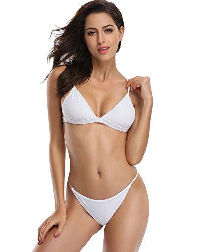 SHEKINI Women's Triangle Top Brazilian Bottom Two Piece Bikini Swimsuit Set (White, Small/(US 4-6))