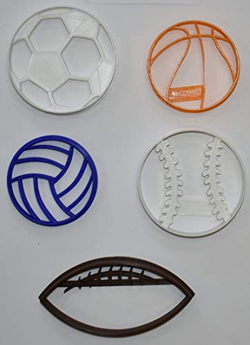BALLS TEAM SPORTS VOLLEYBALL SOCCER FOOTBALL BASKETBALL BASEBALL SOFTBALL SET OF 5 SPECIAL OCCASION COOKIE CUTTERS BAKING TOOL 3D PRINTED MADE IN USA PR1079 - Cookie Soccer Ball