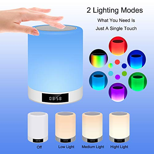 Bluetooth Speaker Lamp Lighting with Clock, Night Light Portable Lamp Speakers with Smart Touch Control - Set The Mood Premium LED Light Bedside Desk Lamp for Bedroom, Camping, Travelling (Mini-Plus)