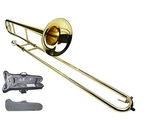 Merano Gold Brass B Flat Tenor Slide Trombone with Zippered Carrying Case by Merano