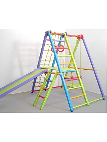 Dani Wooden Playground for Kids SportPlanet - Indoor Gym Set: Ladder, Swing, Slide and Rings (Colored-1)