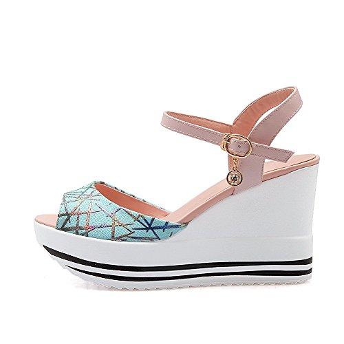 AgooLar Heels Color Buckle Pu Women's Assorted High Toe Sandals Pink Open rgSwXrxqB8