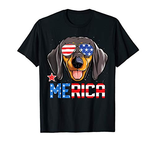 - Dachshund Merica 4th of July T shirt Kids Boys Dog Puppy Tee