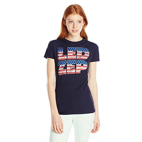 FEA Women's Led Zeppelin Logo Flag Filled Soft Juniors Tee, Navy, Medium