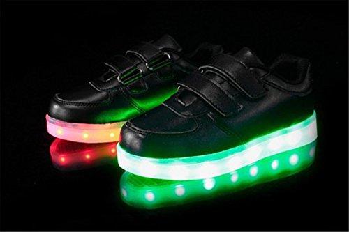 [Present:kleines Handtuch]JUNGLEST® 7 Farbe LED Leuchtend Aufladen USB Kinderschuhe Paare Schuhe Herbst und Winter Sport schuhe Freizeitschuhe Leucht lauf Schwarz