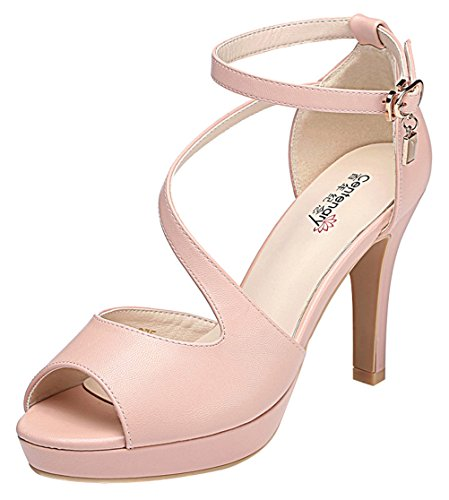 [T&Mates Womens Comfort Sexy Peep Toe Ankle Strap Cutout Platform High Heeled Pumps Shoes (7.5 B(M)US,Pink)] (Metal Gear Solid 1 Snake Costume)