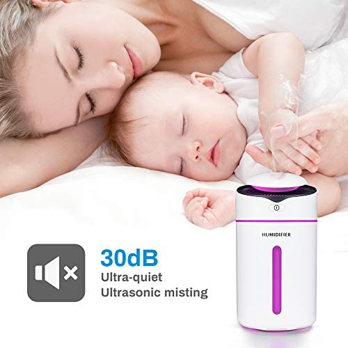 Color You 300ml Humidifier, Ultrasonic Air Humidifiers Adjustable Mist Mode, Portable Humidifier, Waterless Auto Shut-off Quiet Humidifier Good for Sleep and Skin Health