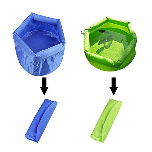 KAKIKI Collapsible Versatile Basin Leak-Proof Water Container Portable Folding Inflatable Ultralight Bucket Two-Piece Set Blue and Green for Outdoor Travel - Basin Gourmet