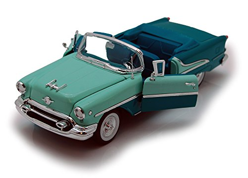 1955 Oldsmobile Super 88 Convertible, Green - Welly 22432 - 1/24 Scale Diecast Model Toy - Oldsmobile Super 88