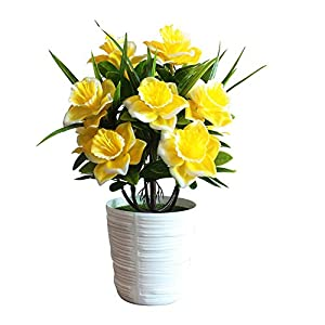 BLagenertJ 1Pc Fake Potted Plant Artificial Plastic Daffodil Flower Stage Garden Wedding Home Party Decoration Props - Yellow 96